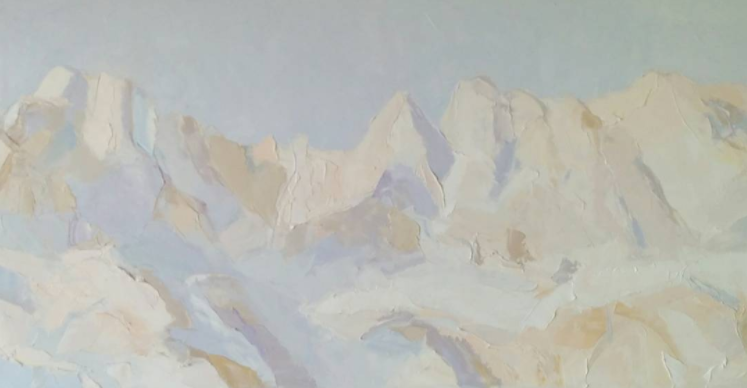 """Conception Peaks,  2017 Oil on canvas, 20 x 40"""""""
