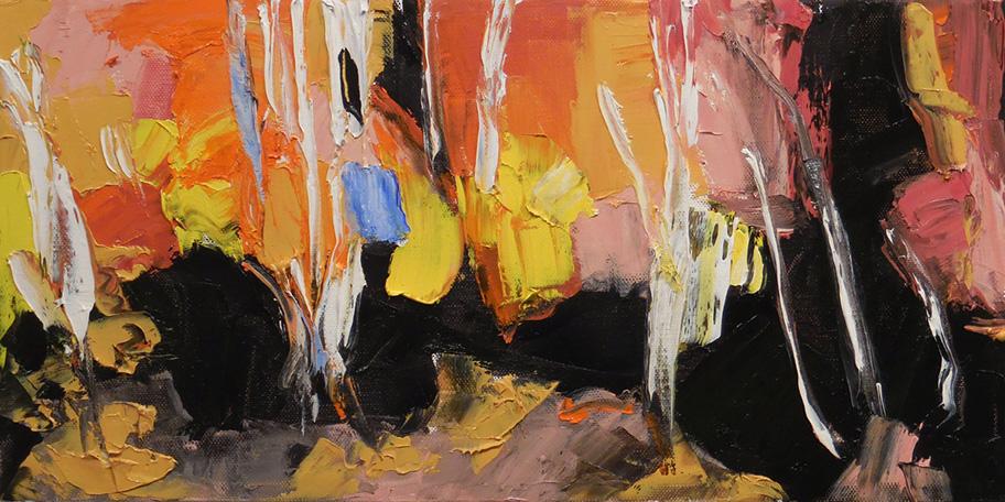 """Fire Season , 2017 Oil on canvas, 12 x 24"""" Available"""