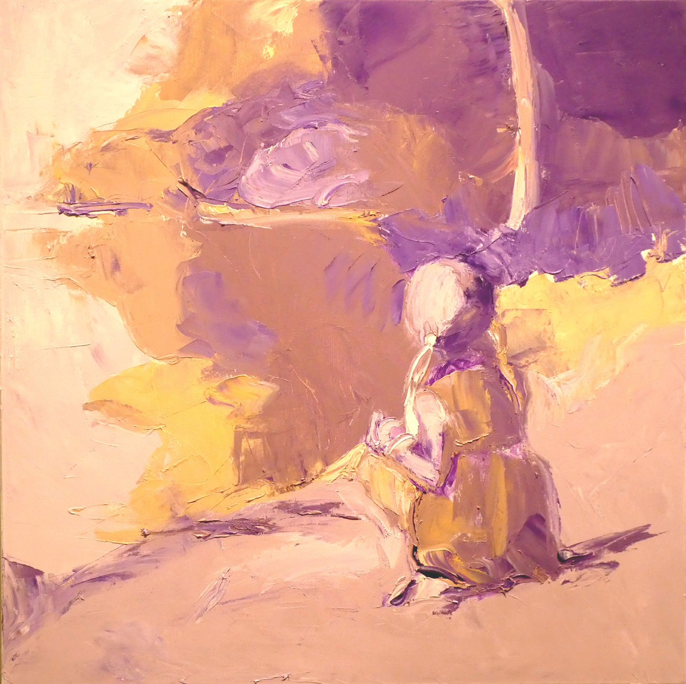 "Girl on the Shore, in Violet , 2018 Oil on board, 24 x 24"" Available"