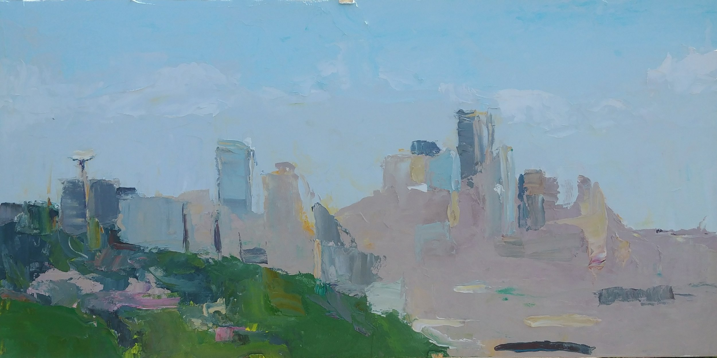 "April High Noon View from Ella Bailey Park, Seattle , 2019 Oil on canvas board, 12 x 24"" Available ->  Inquire"
