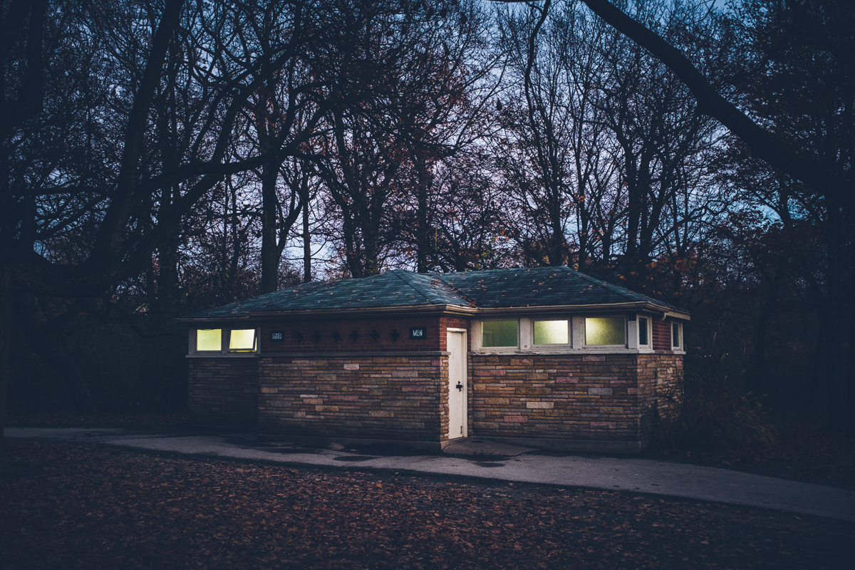 Washrooms in High Park.  I love the way the diffused glass windows make this little building glow at dusk.