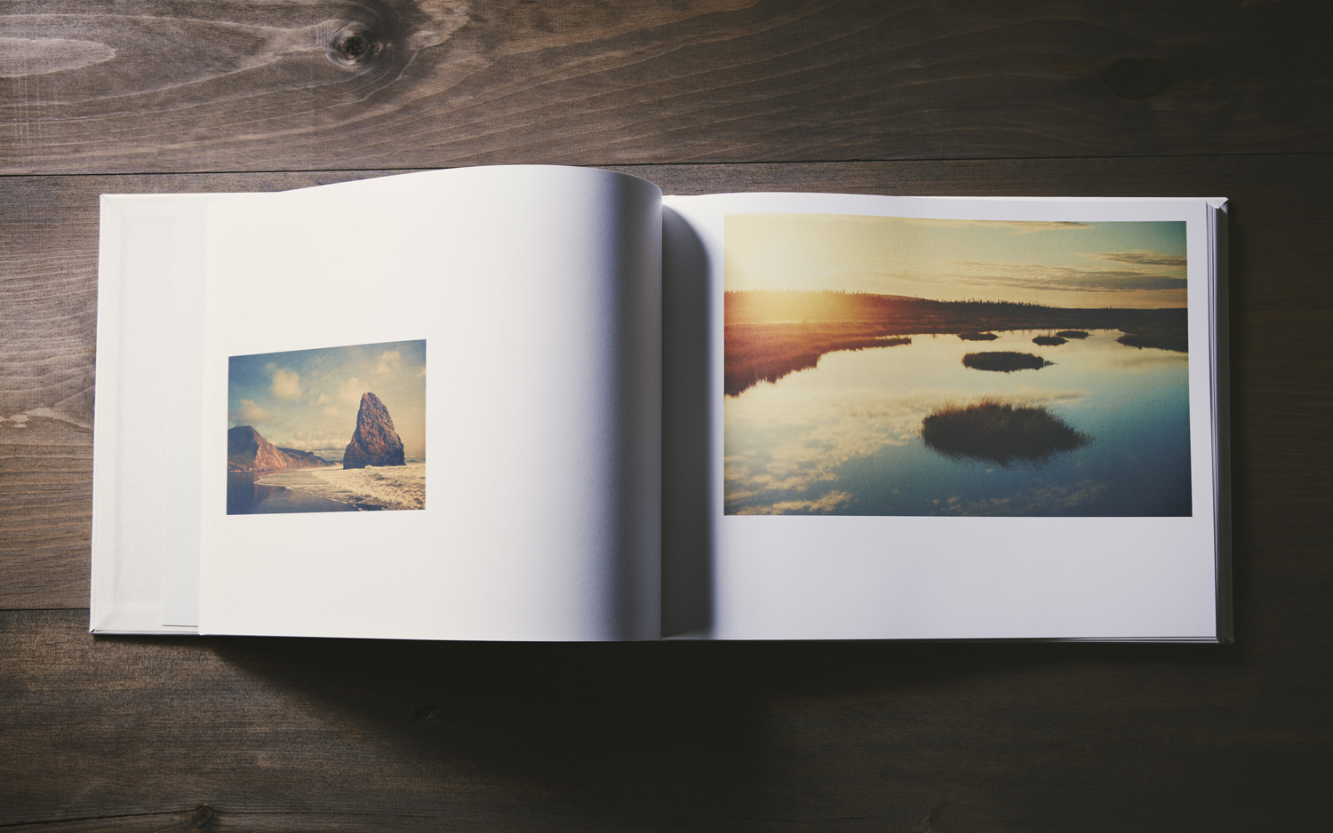 """The book spread open is 11""""x28"""" giving the landscapes room to breathe."""