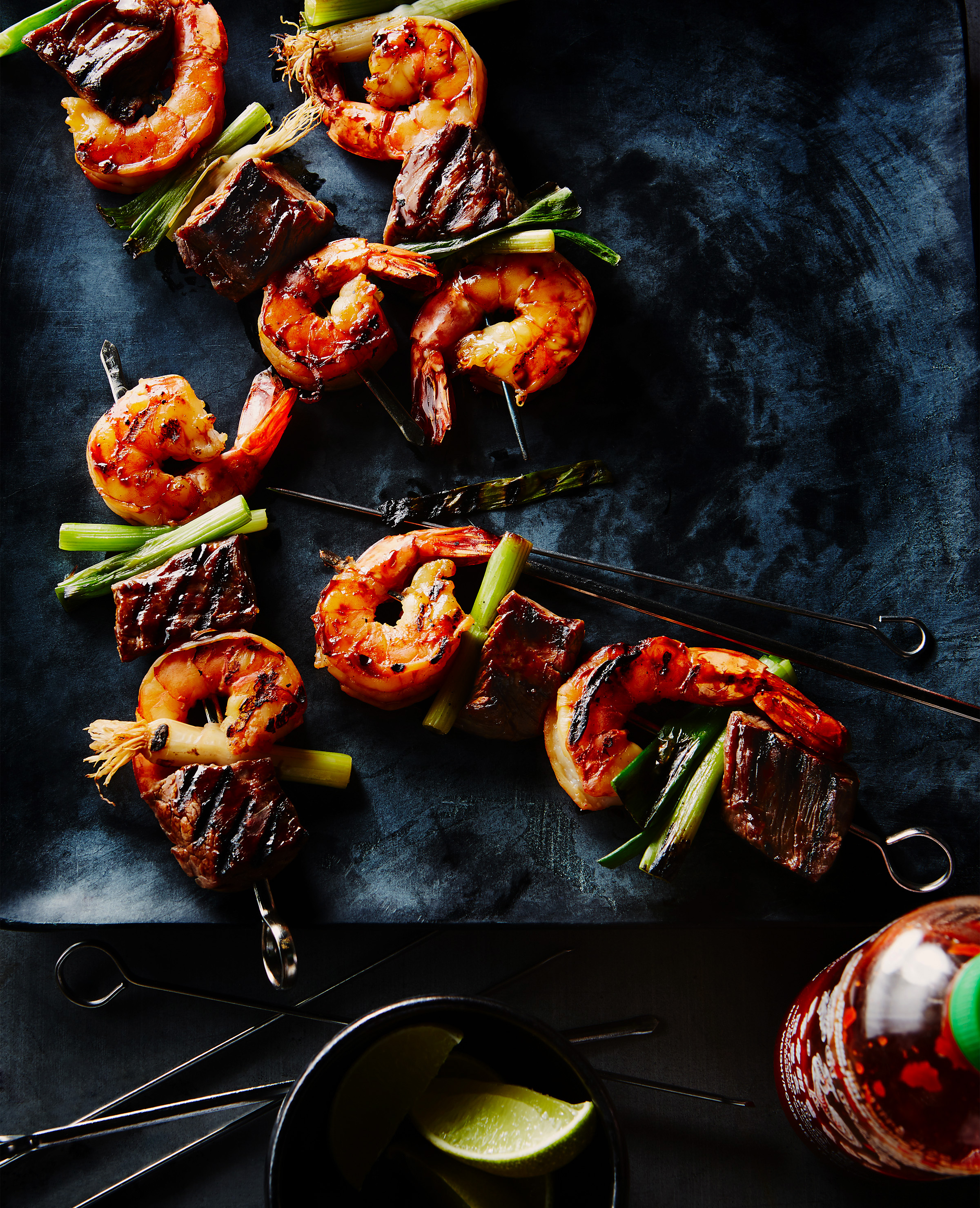 Shot for a summer grilling story for House and Home Magazine.  I love the props in this shots, especially the contrast of the shrimp against the dark platter.