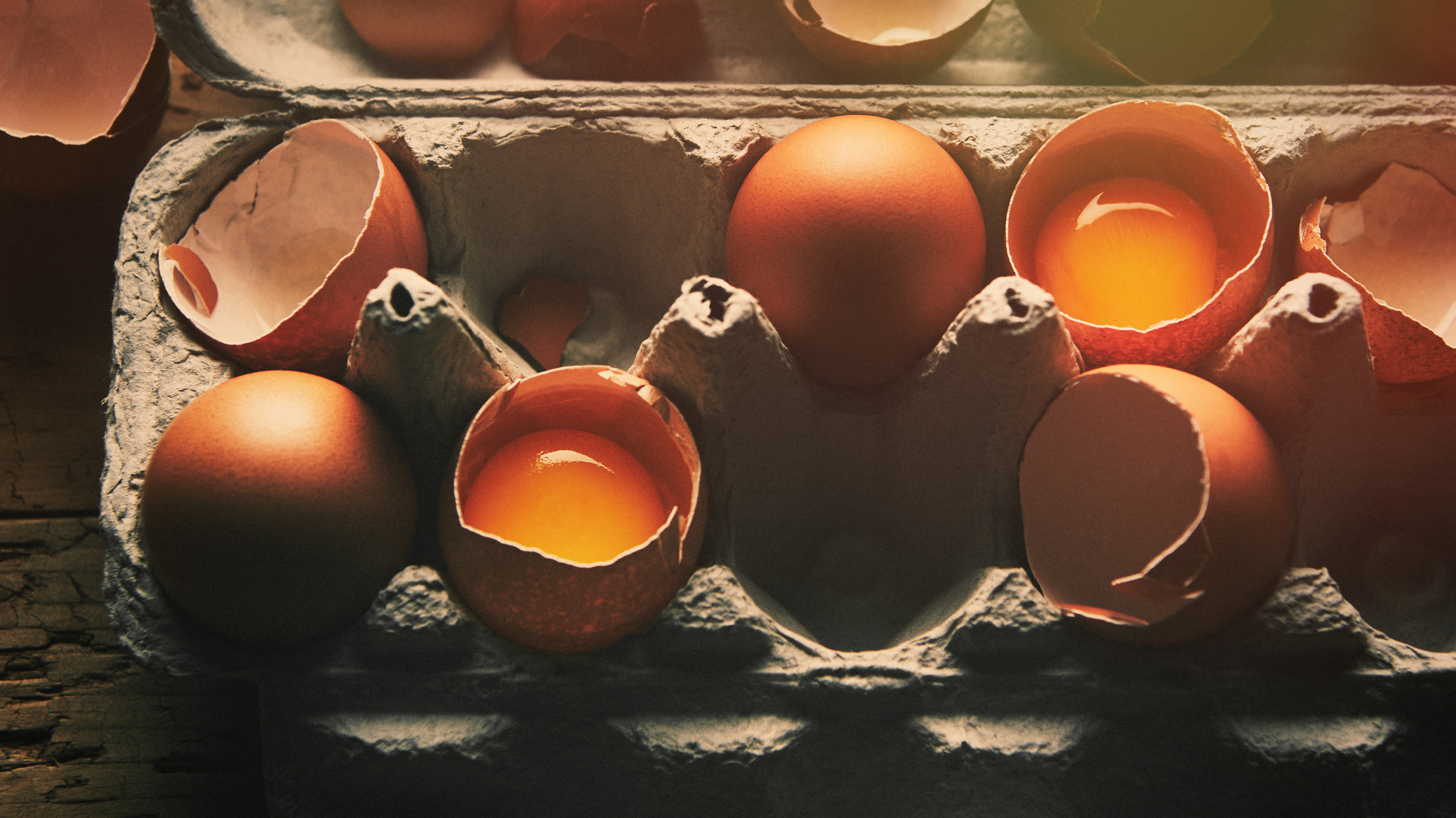 The goal here was to create rustic, farm-fresh eggs in morning light.  This was an exercise in lighting and I think we pulled it off nicely.   I love the early morning feel of this shot.