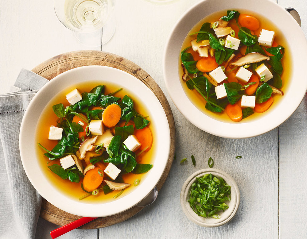 Tofu Carrot and Spinach Soup