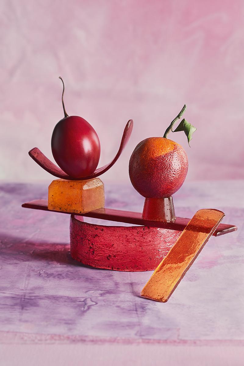Tamarillo and blood orange on grapefruit-Chili, blackberry, saffron-caradmom