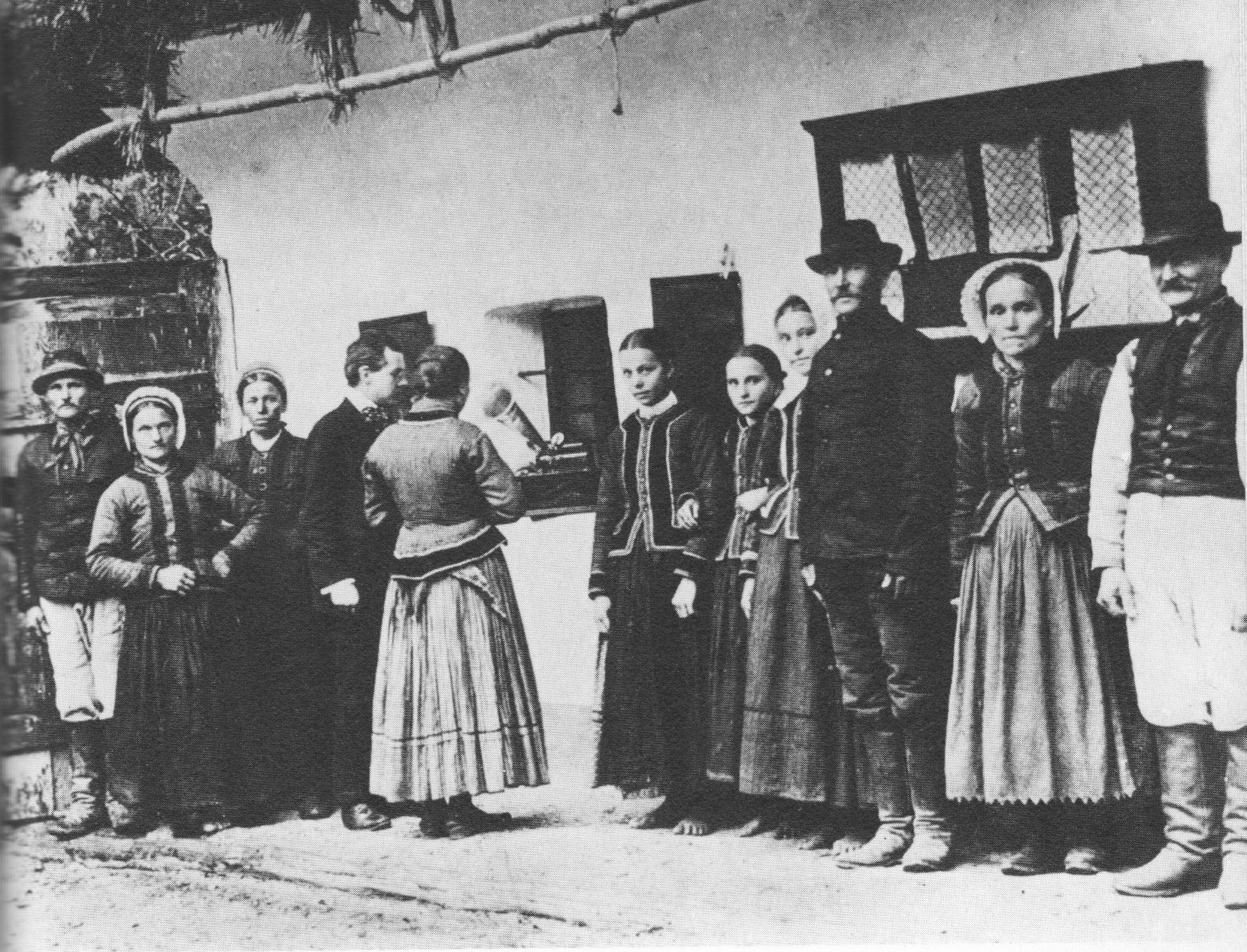 Bela Bartok using a gramaphone to record folk songs sung by Czech peasants , Photographer unknown, Public Domain