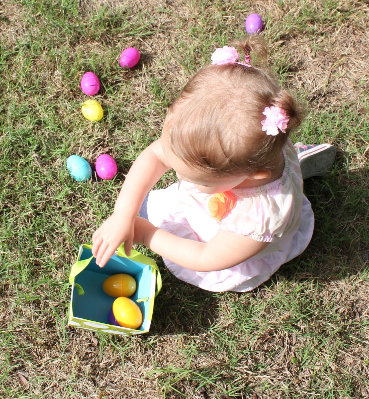 """Kenzie's egg """"jackpot"""". Not sure she picked up another one after this - but no egg was left in this particular vicinity."""