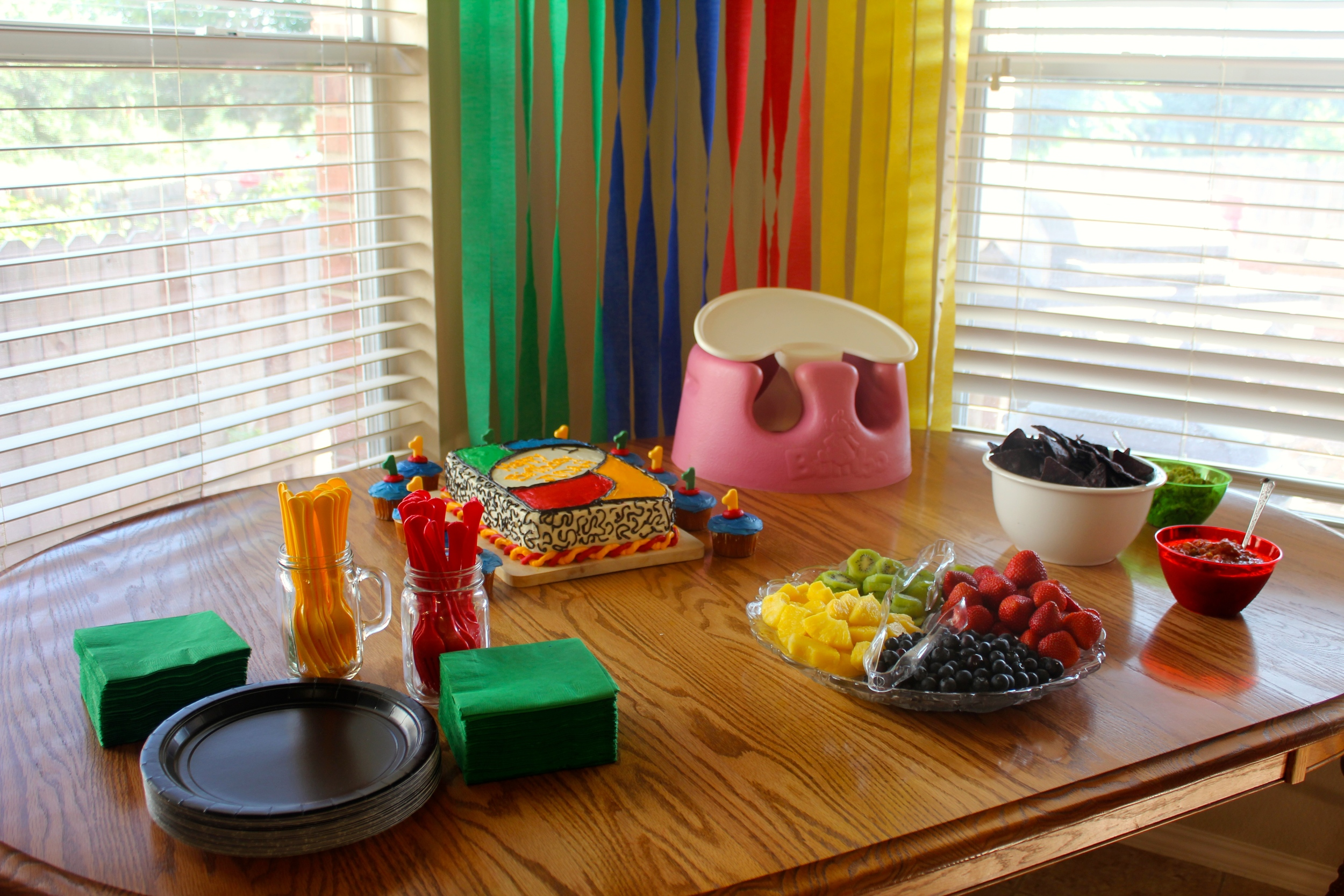 Joshua grilled fajitas, but our snack table attempted to stay in color theme...we just missed out by keeping the queso in the crockpot on the kitchen counter!