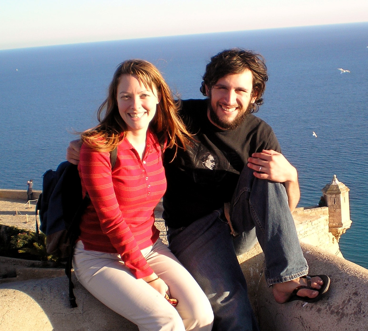 Our first trip overseas: Alicante, Spain at the city castle overlooking the Mediterranean Sea.