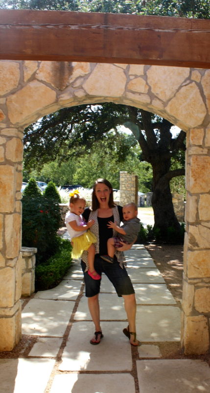 Holding my three kiddos (one in womb!) at the entrance to what I grew up knowing as my great uncle's house.