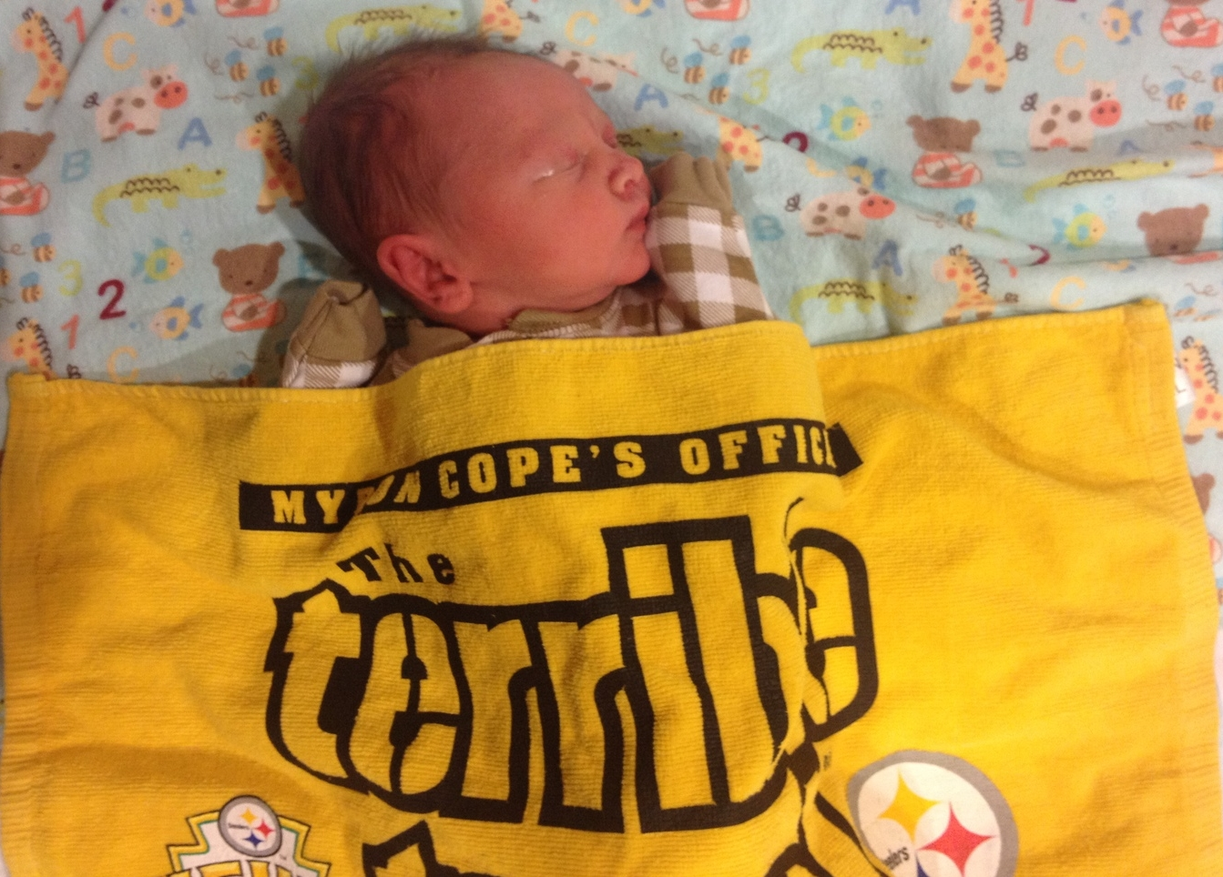 Judah within hours of being born. Baptism by Terrible Towel.