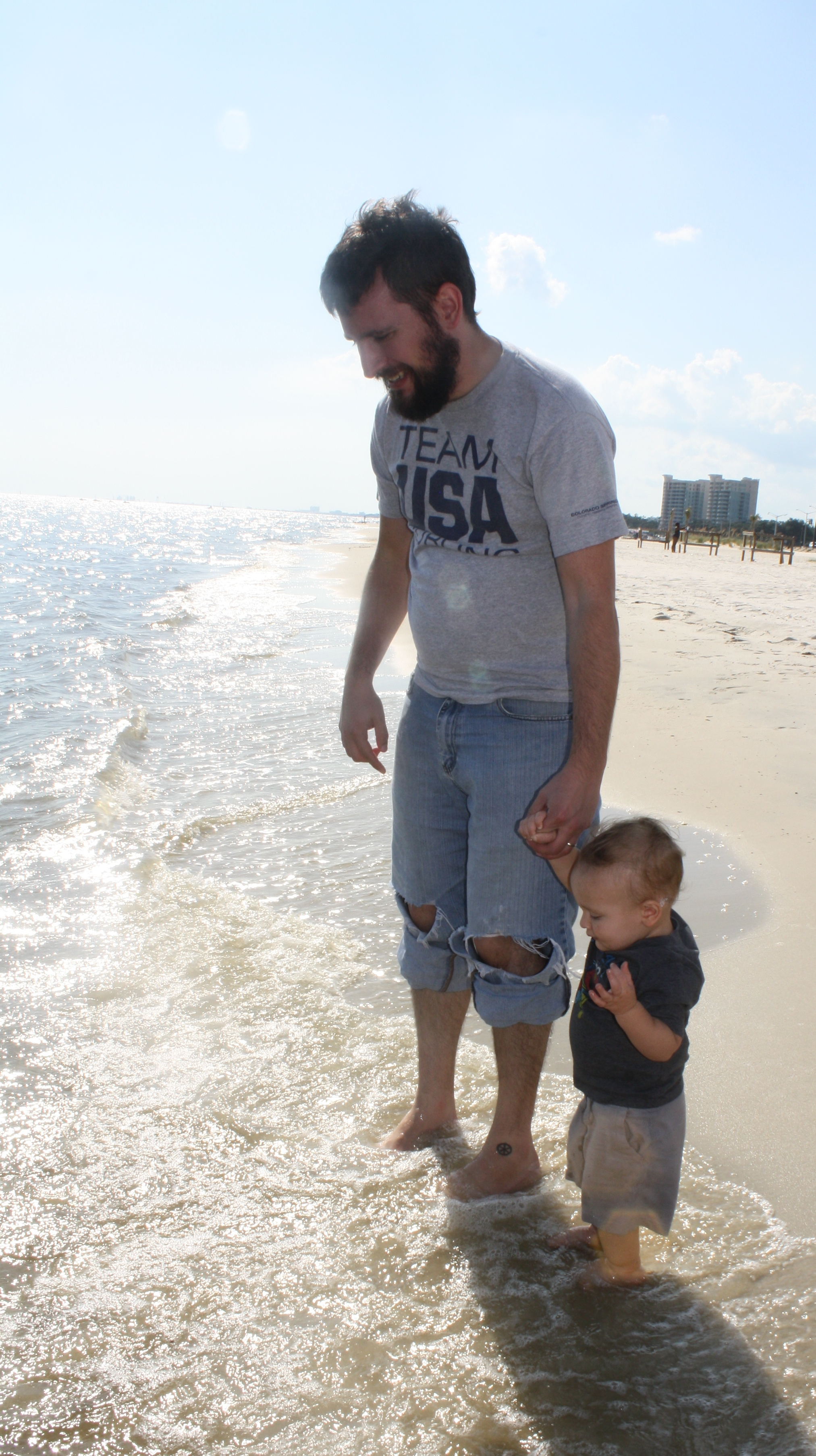 I think Judah was ready to jump the waves, taking his da-da with him!