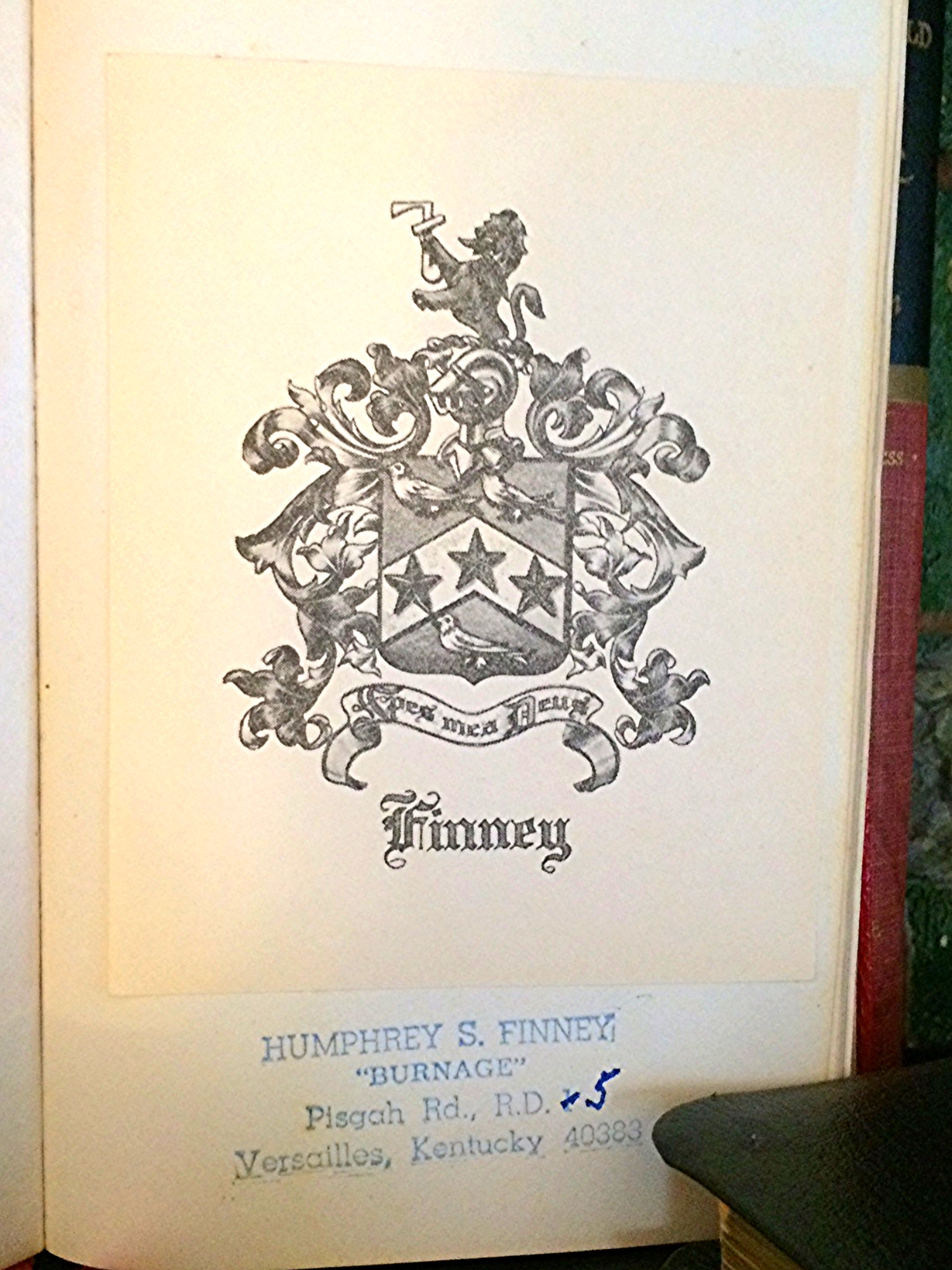 The Finney family Crest on first pages.