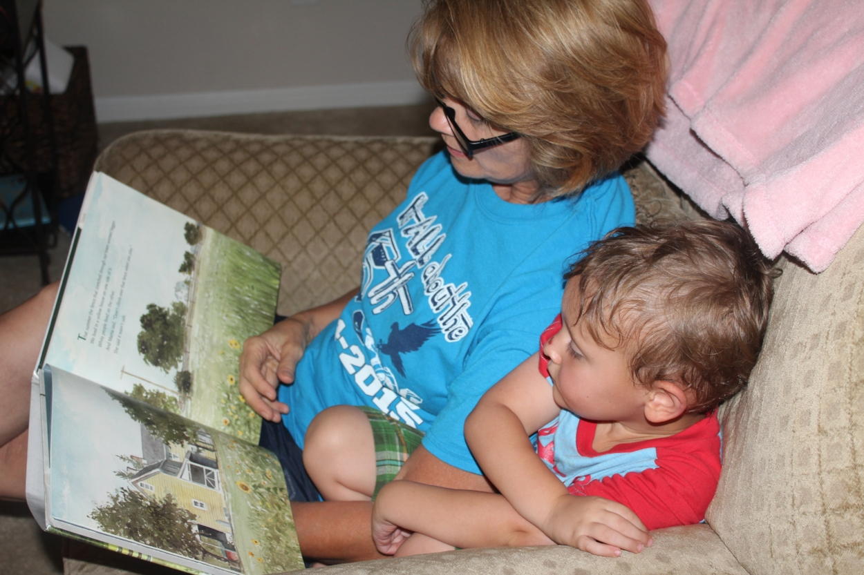 Mom and Judah reading  The Other Side
