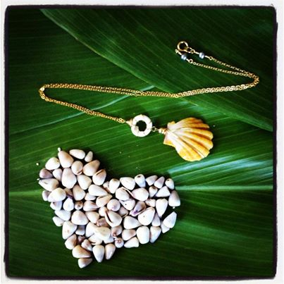 Sunrise shell and puka pendant on 14kt gold fill chain