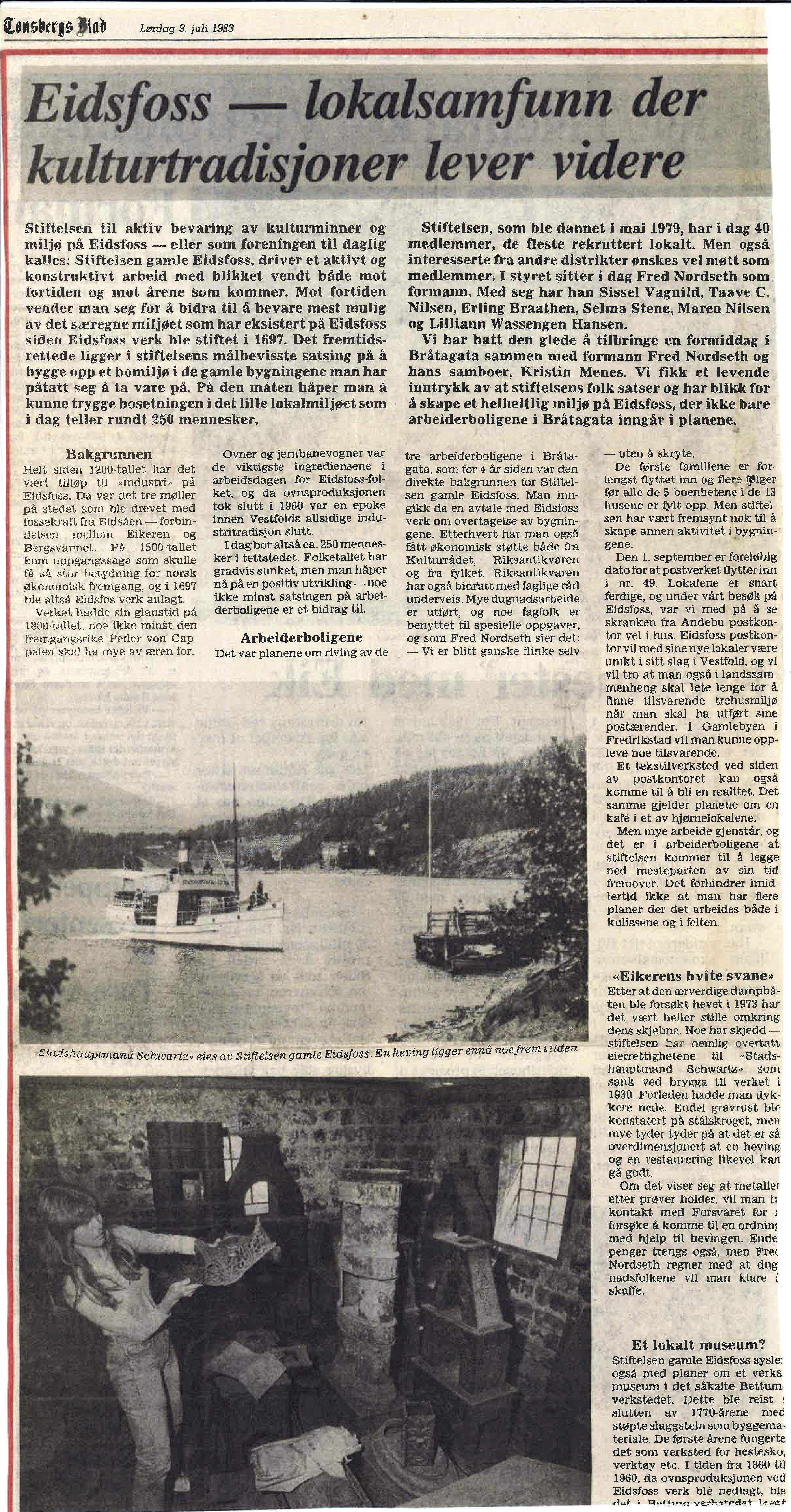 Tønsbergs Blad 9. juli 1983