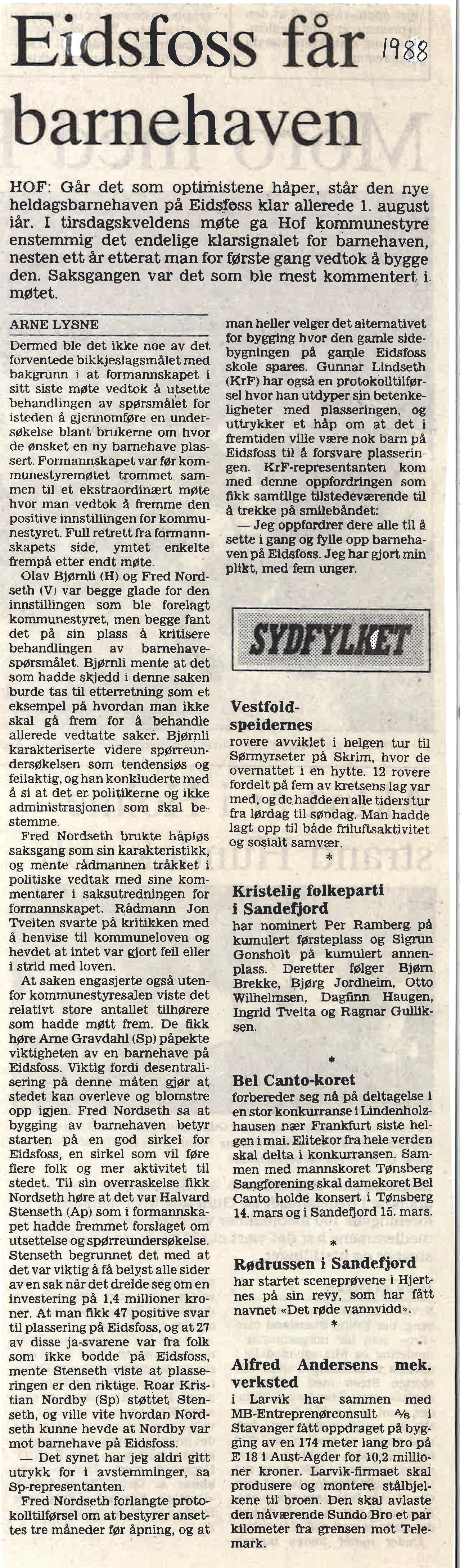 Tønsbergs Blad 1988