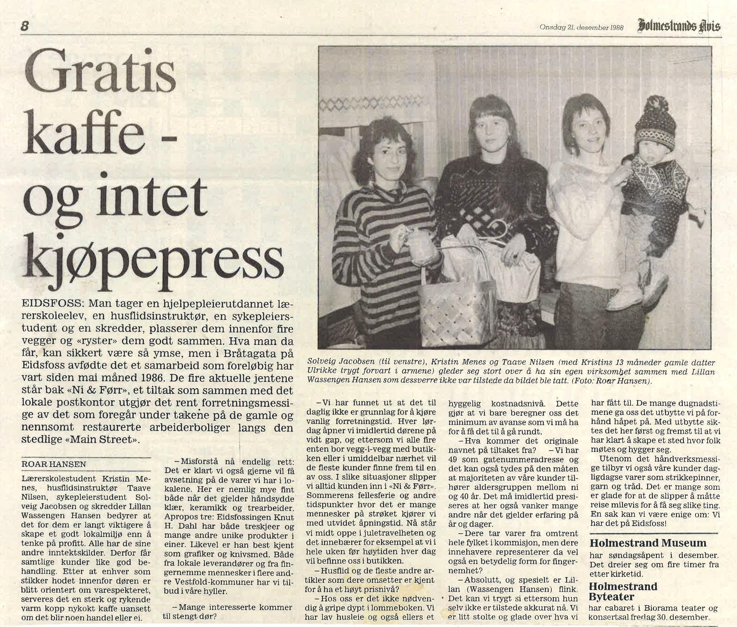 Holmestrands Avis 21. desember 1988