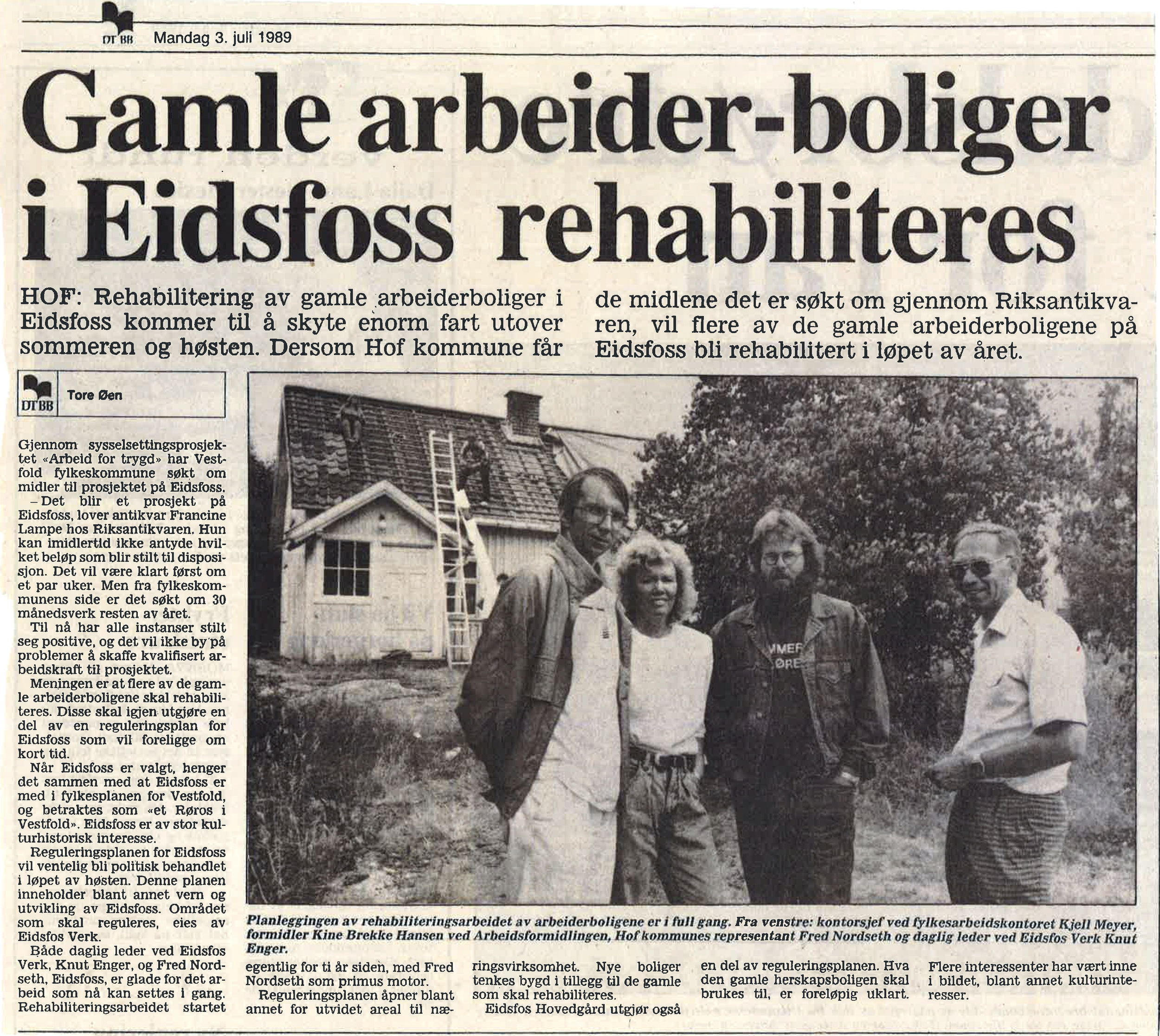 Drammens Tidende 3. juli 1989