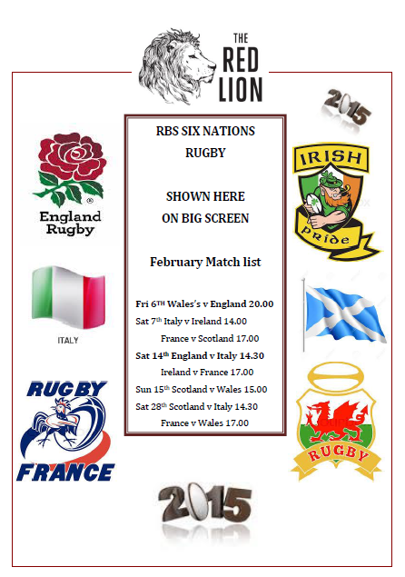 We have a six nation £6 special of Chilli and Rice during all matches.