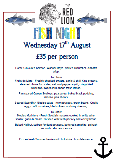 Join us for our Fish night on Wednesday the 17th of August. Book now to reserve your table: 01283 576182