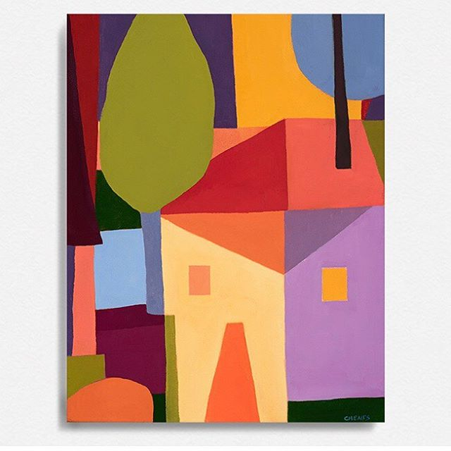 """Fun House, Oil on Canvas, 16""""x13"""" @binderprojects . . #nancycheairs #binderprojects #oilpainting #painting #contemporaryart #contemporarypainting #abstraction #landscape"""