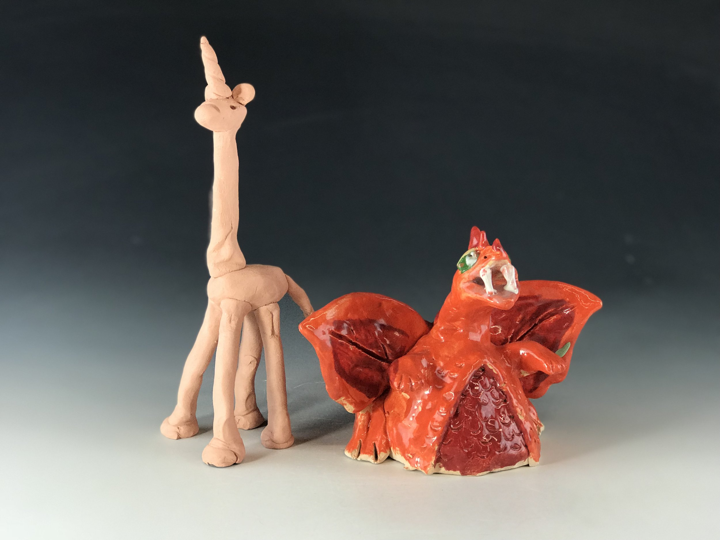 Fantasy Creatures or Zoo Animals: - This is a hand building party format and a very popular option! Create dragons or mythological creatures, fairies, or even a sculpture of your dog.