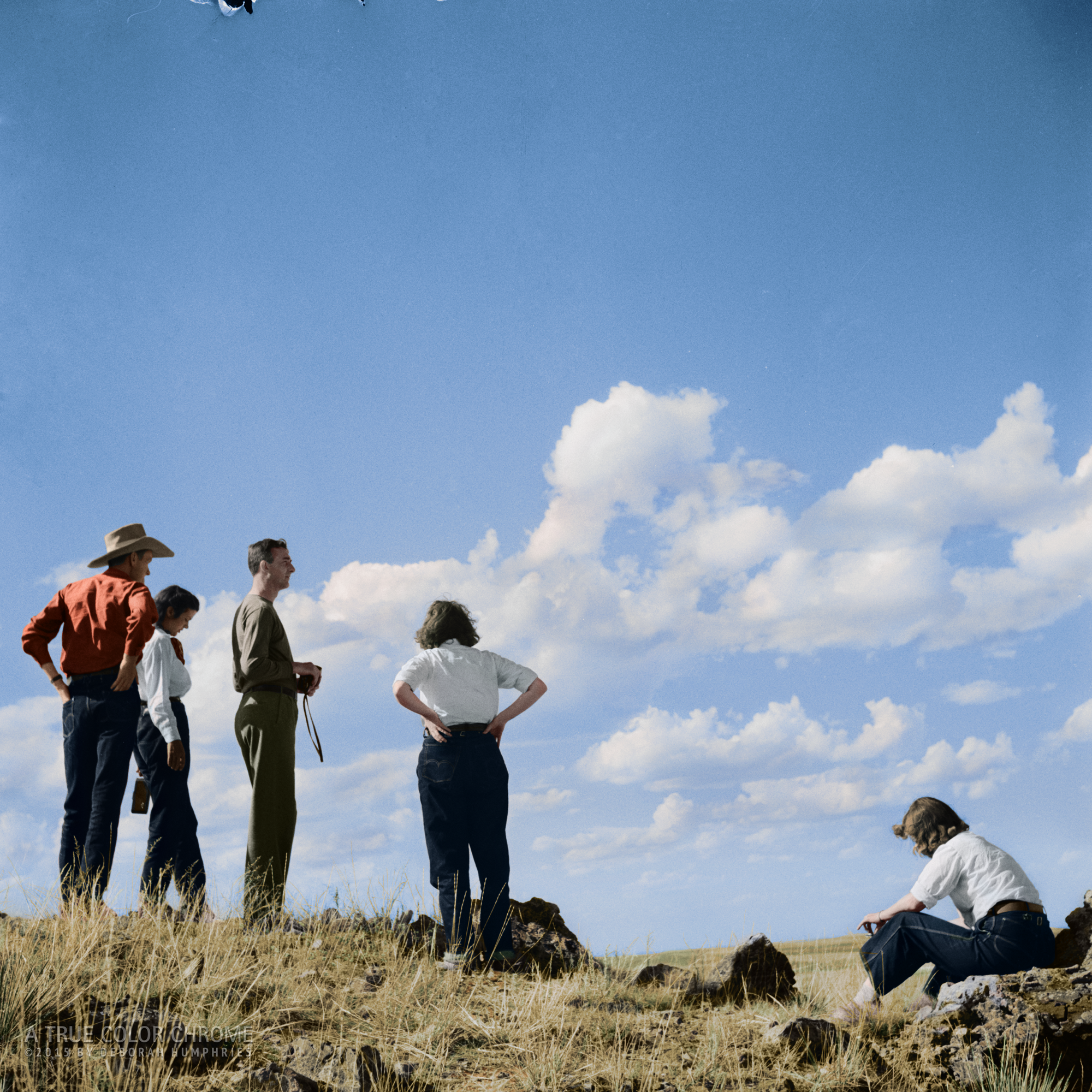 """""""Dudes"""" Looking out over Range Country, 1941"""