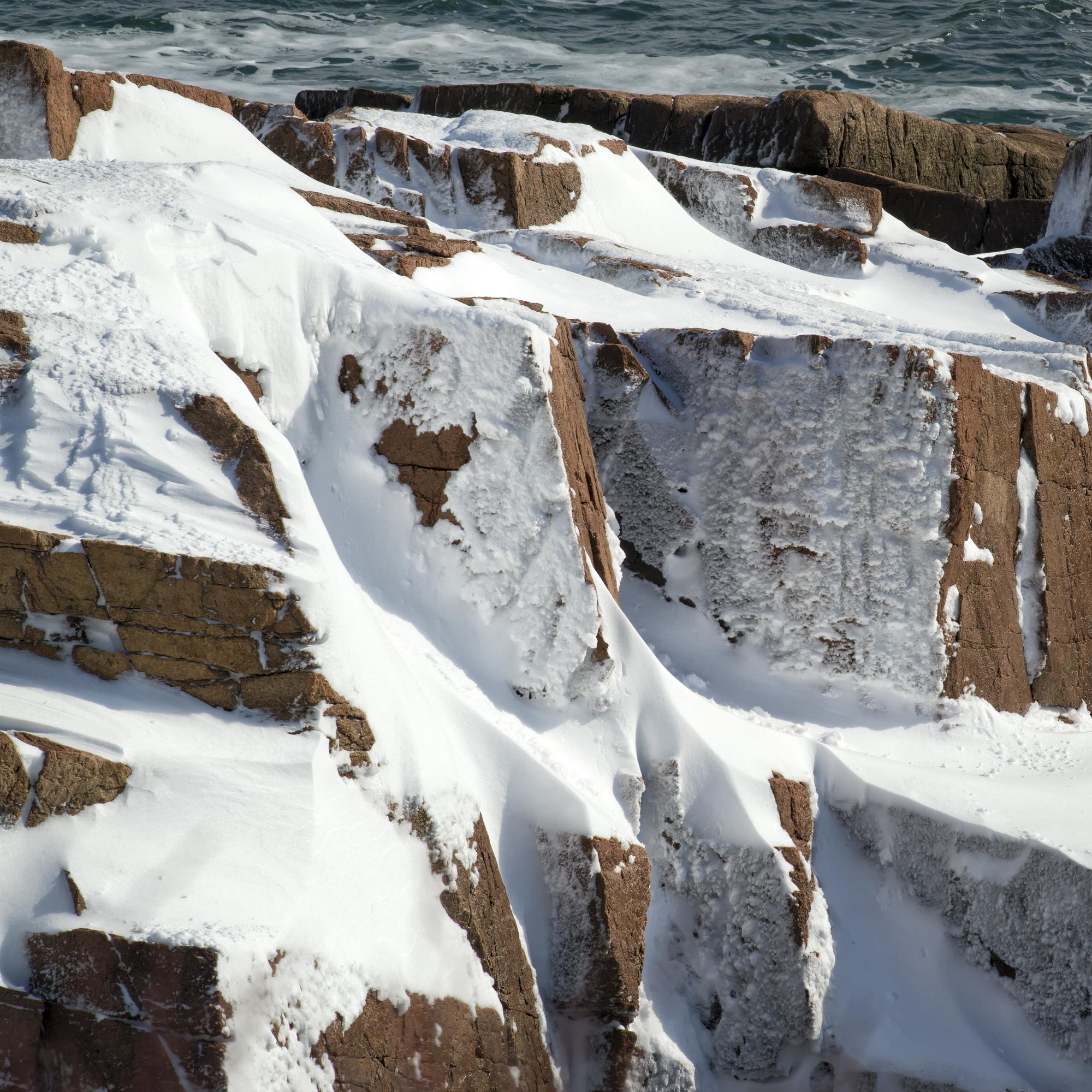 Snowy Heart, Ocean Drive, Acadia National Park