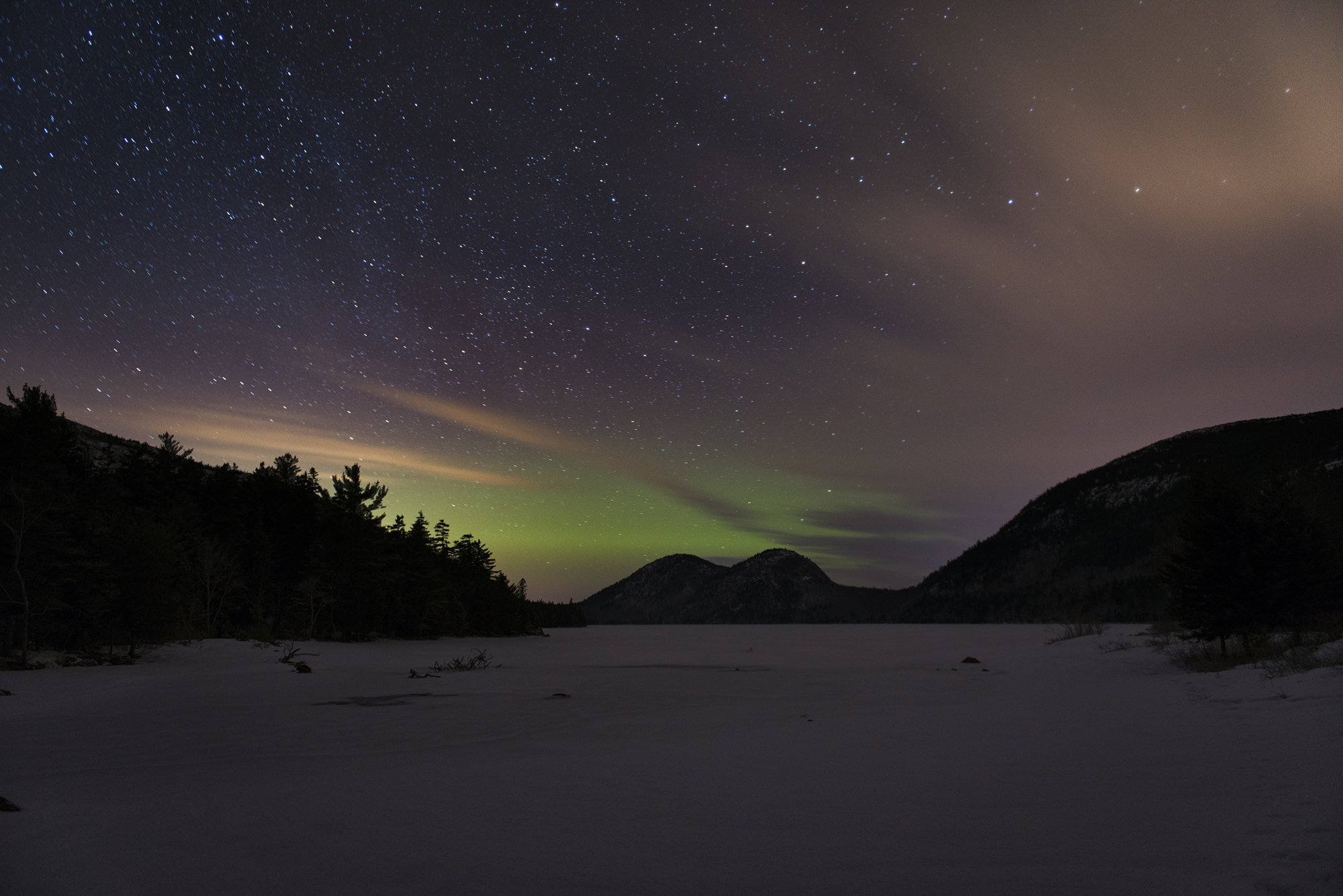 Aurora at Jordan Pond, Acadia National Park, Night Sky Photography