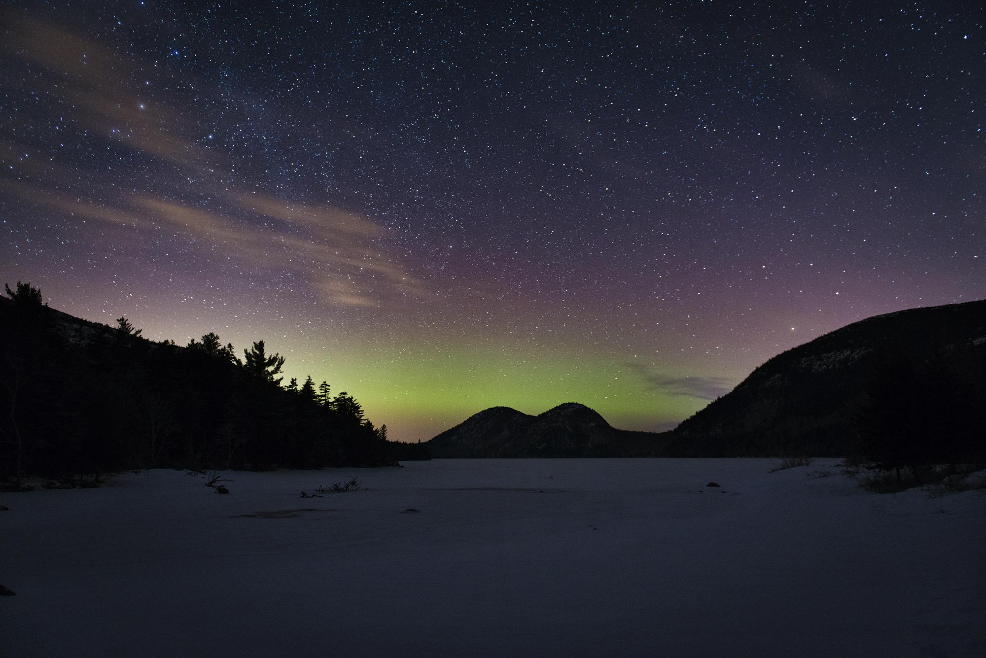 February Aurora, Jordan Pond, Acadia National Park