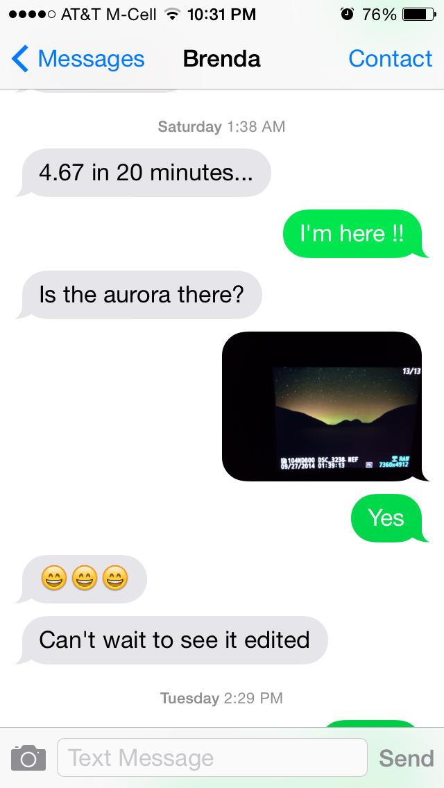 Aurora Text Message From Brenda