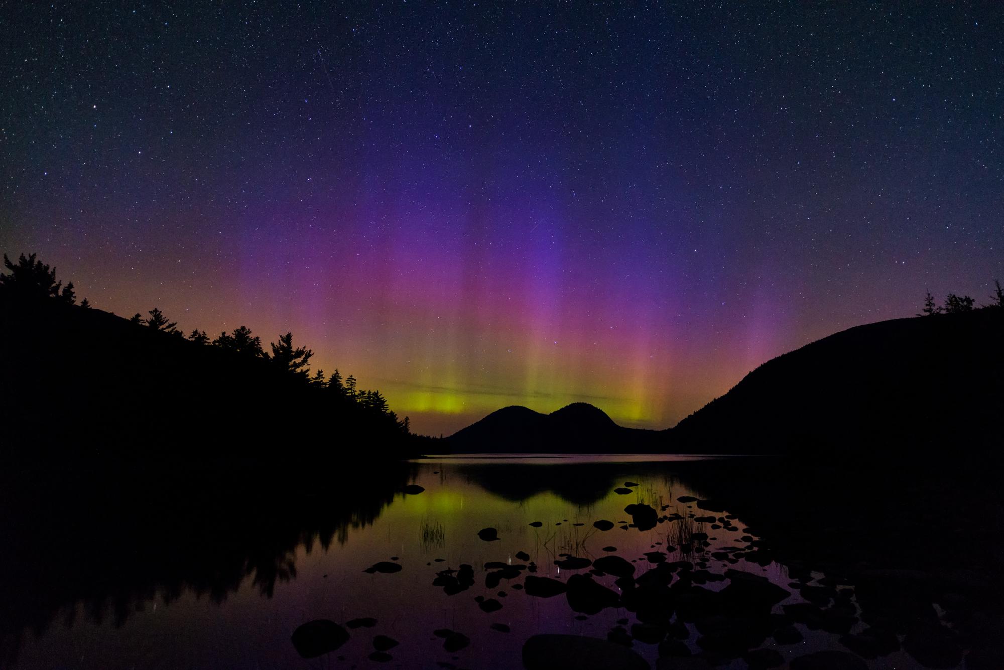 Summer Aurora,Jordan Pond,Acadia National Park,Maine