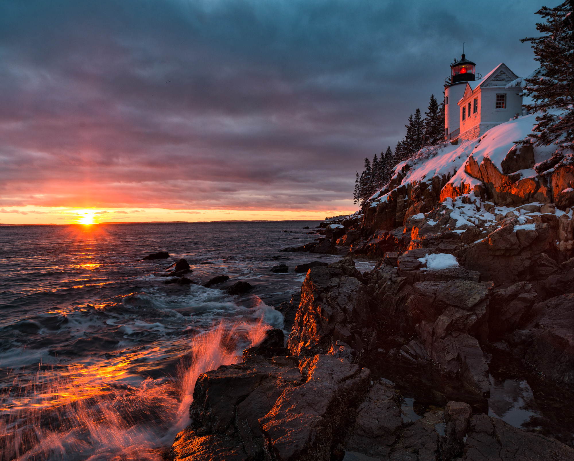 Snowy Sunset, Bass Harbor Lighthouse, Acadia National Park, Maine