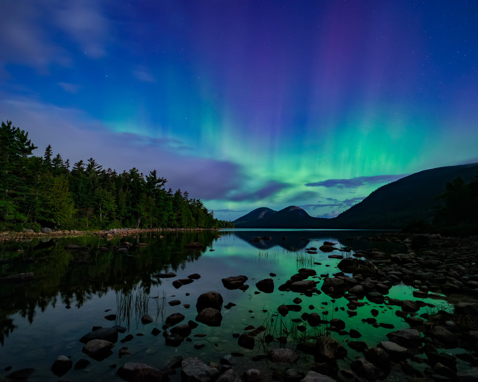 Moonlit Aurora, Jordan Pond, Acadia National Park, Maine