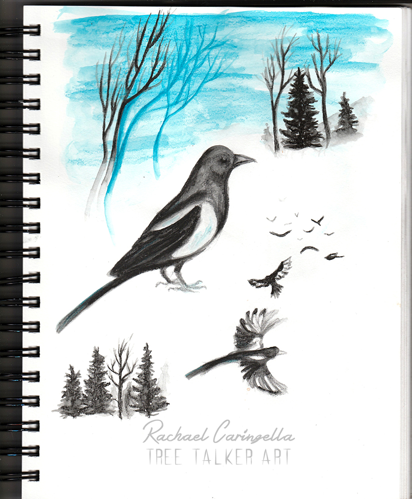 Water Soluble Magpies and trees