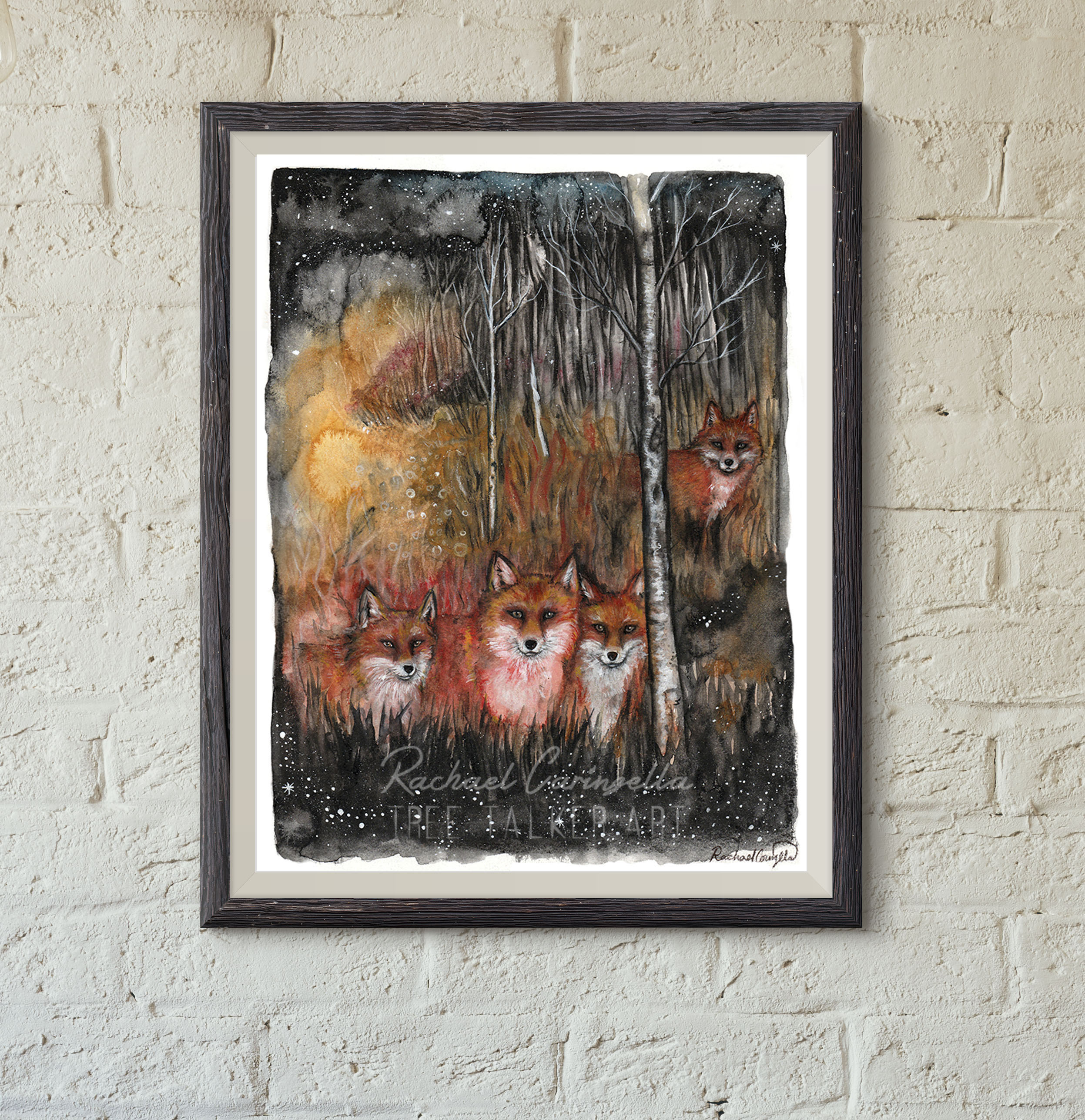 Fox Spirits | Mixed Media Watercolor, Colored Pencil | Tree T