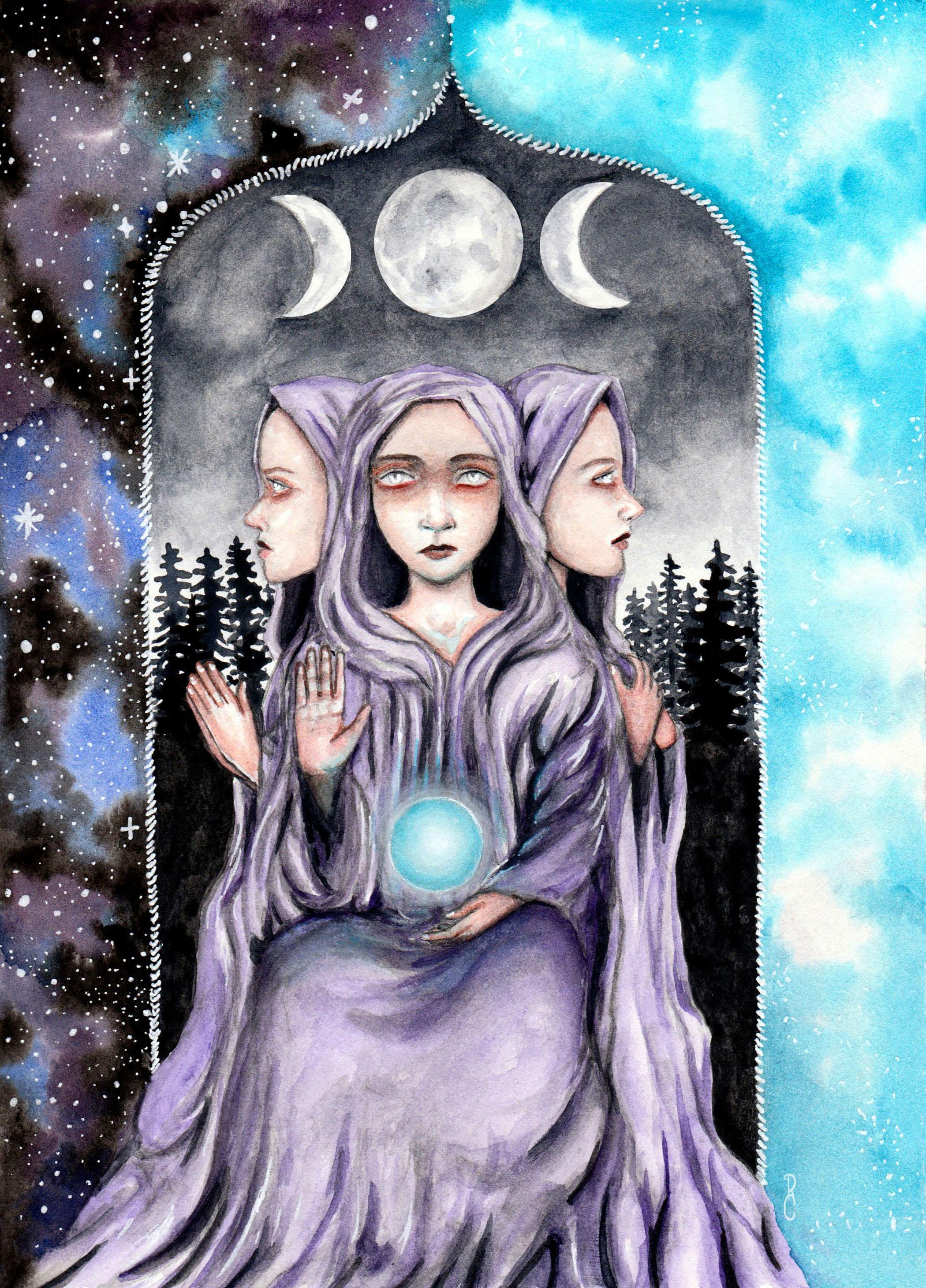 The High Priestess Card | Tarot Card Art | Rachael Caringella Watercolor | Tree Talker Art