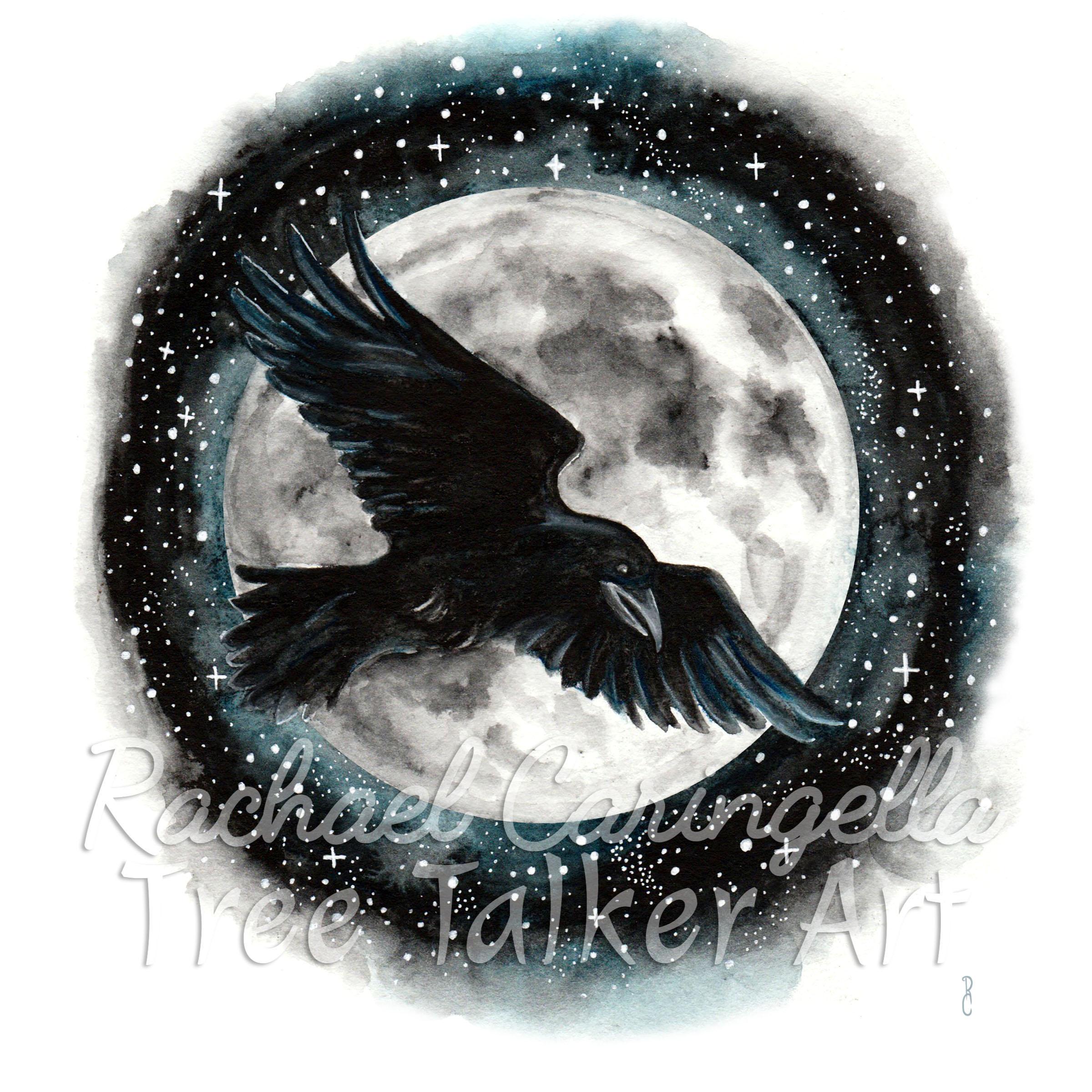 Moonlit Raven | Rachael Caringella Watercolor | Tree Talker Art