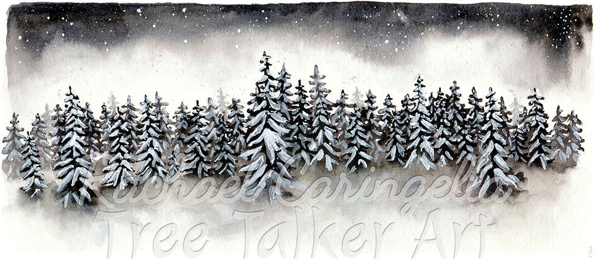 Winter Forest Scene | Rachael Caringella Watercolor | Tree Talker Art