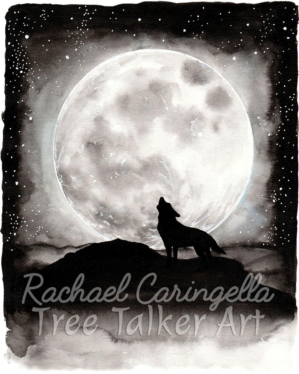 Wolf Howling | Rachael Caringella Watercolor | Tree Talker Art