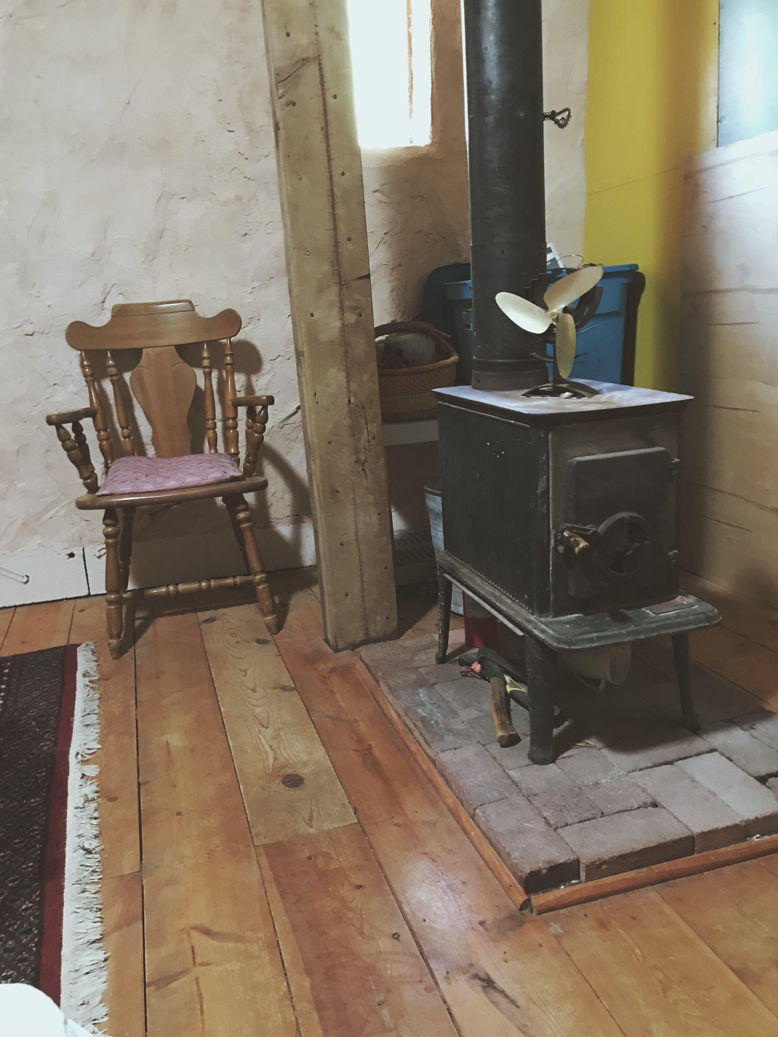 Cob House Interior Wood Stove | Tree Talker Art