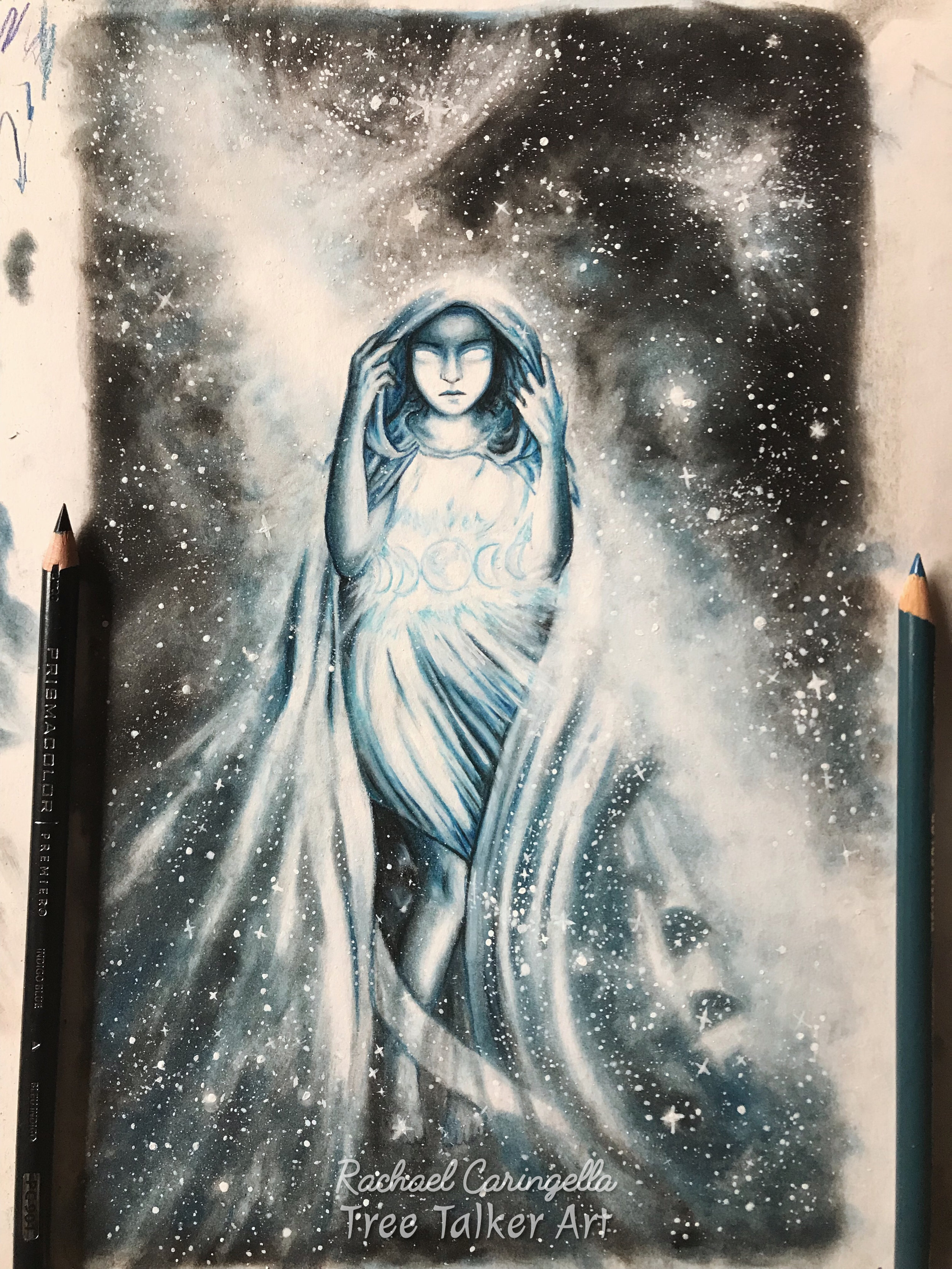 Step by step progress on the Star | Tree Talker Art | Oracle Deck
