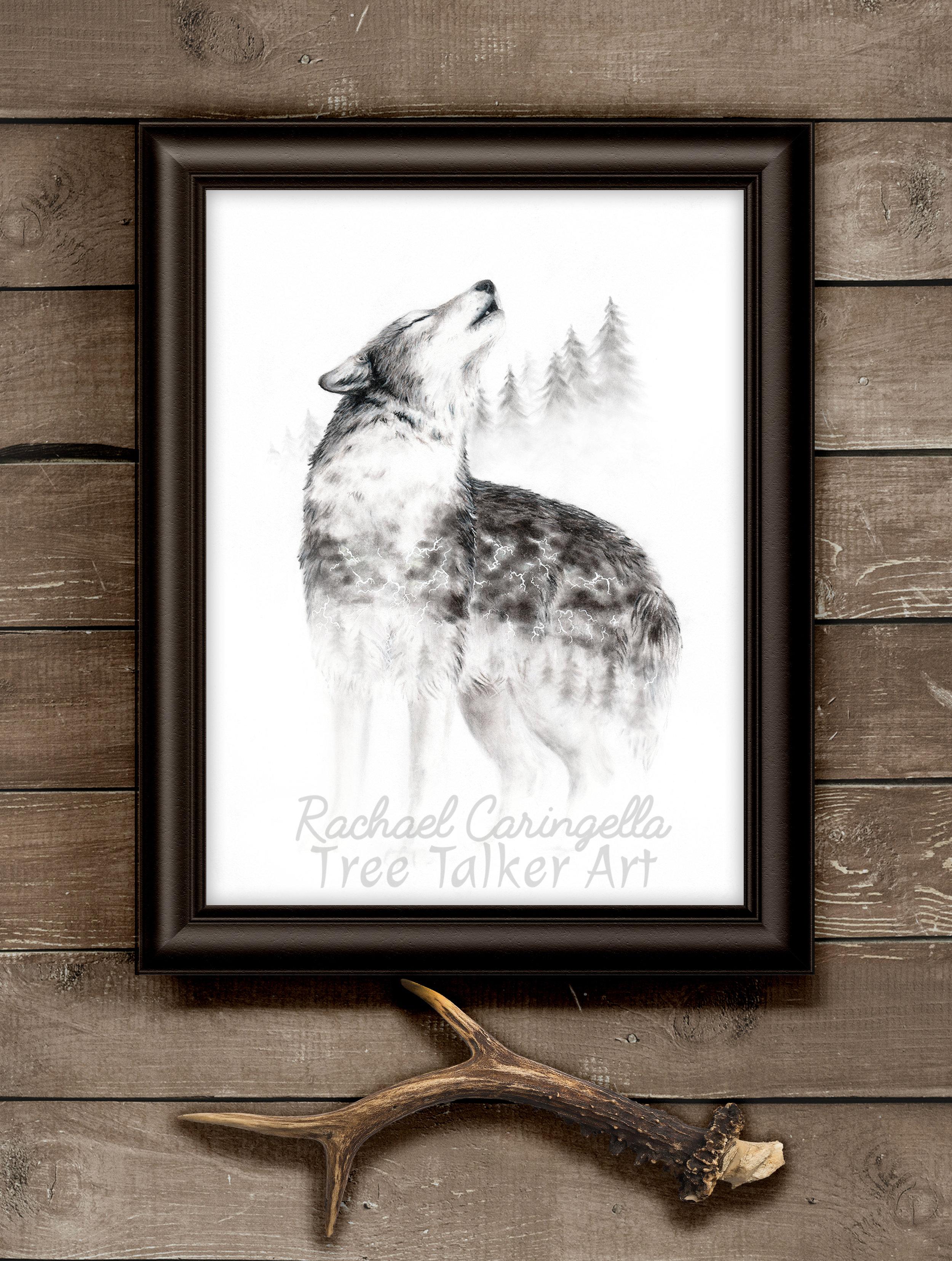 """Mourning Song"" Wolf Howling Art | Rachael Caringella Tree Talker Art"