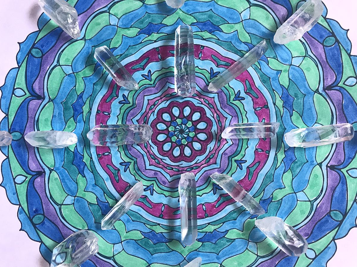 Colorable Mandala Crystal Grid