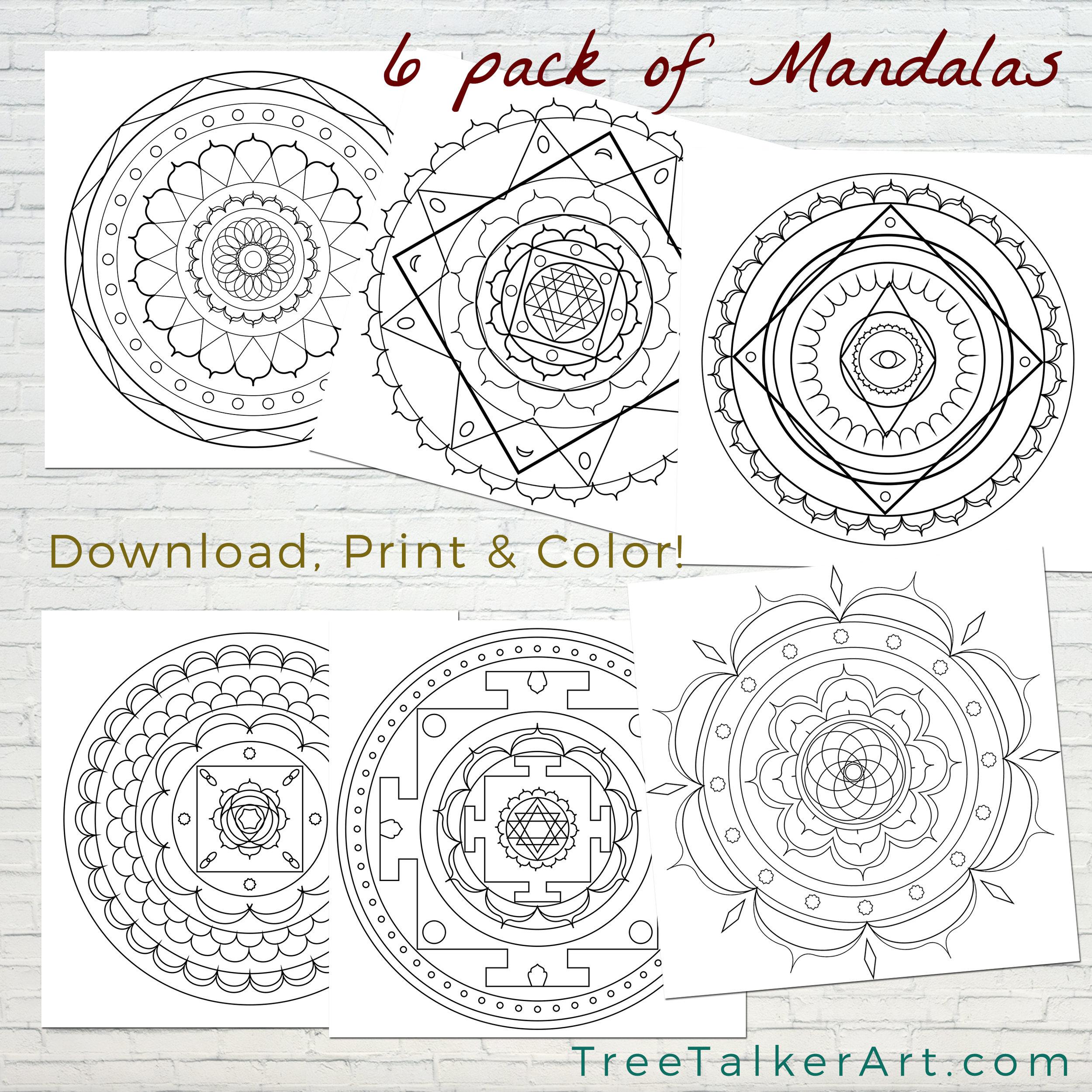 Free Colorable  Mandalas Tree Talker