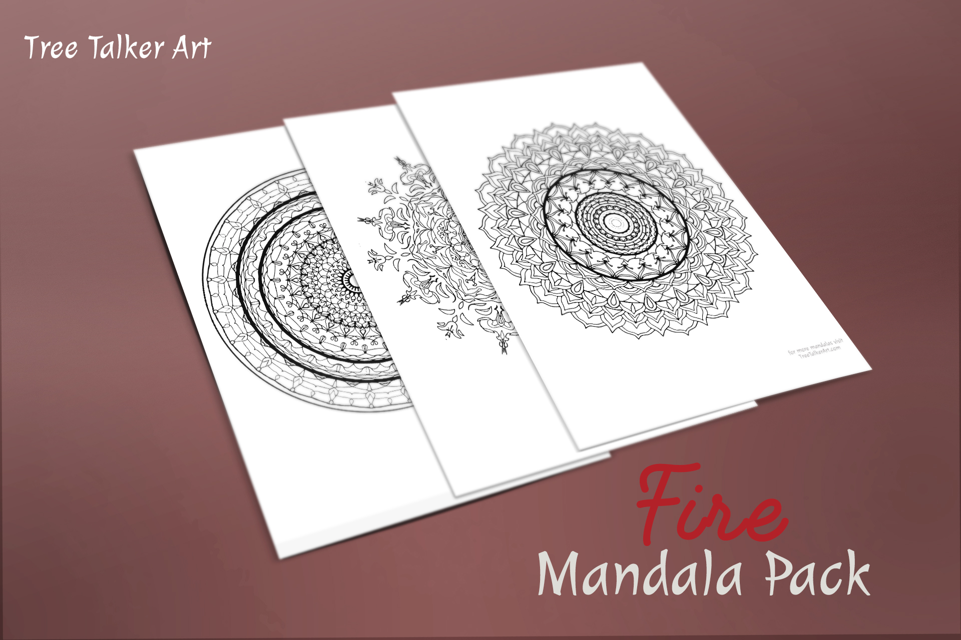 Fire Downloadable Mandala Meditation Pack | Tree Talker Art