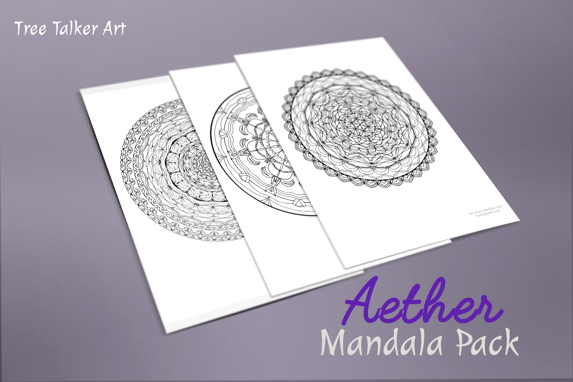 Aether Downloadable Mandala Meditation Pack | Tree Talker Art