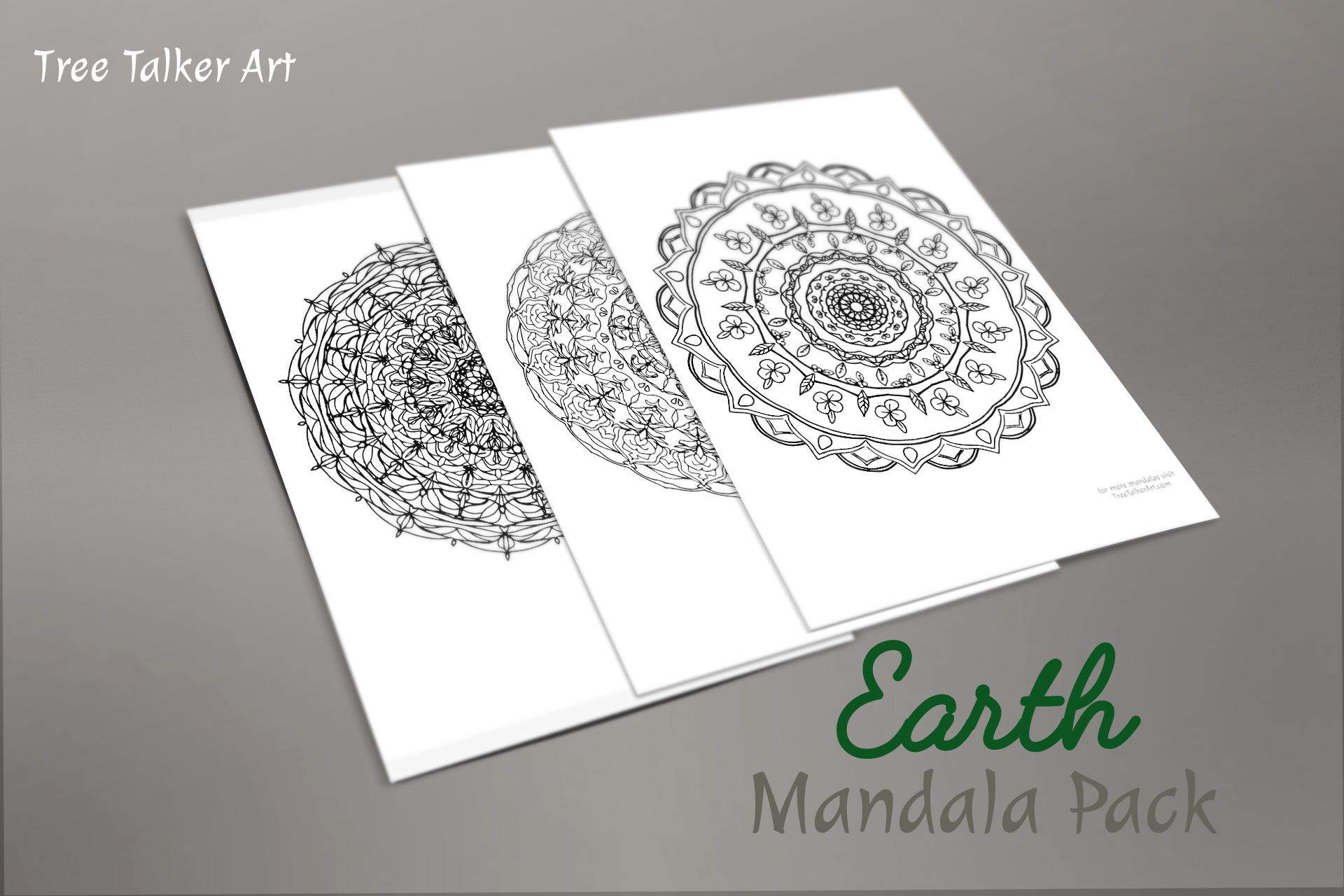 Earth Downloadable Mandala Meditation Pack | Tree Talker Art